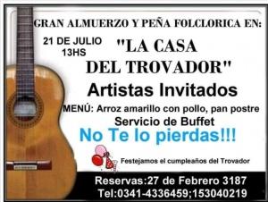 ALMUERZO Y PEÑA EN LA CASA DEL TROVADOR @ LA CASA DEL TROVADOR - ROSARIO
